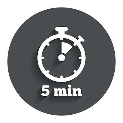 Timer sign icon. 5 minutes stopwatch symbol. Gray flat button with shadow.