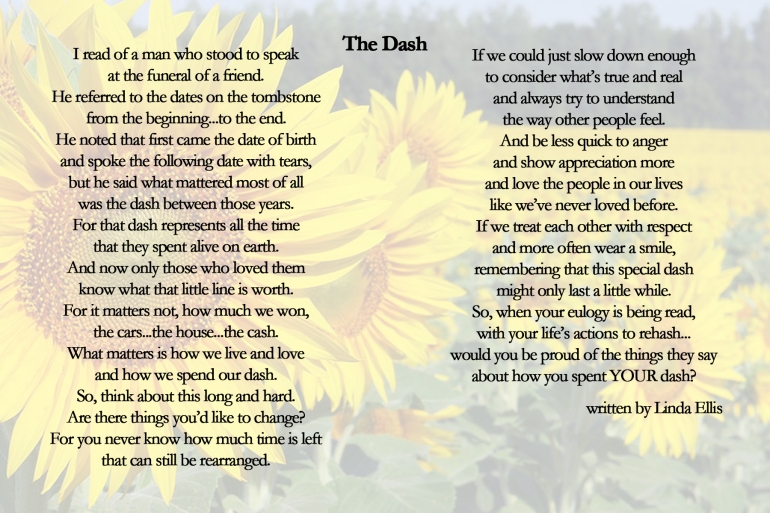 poem called the dash written as a poster with sunflowers in the background