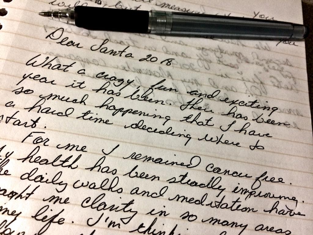Dear Santa letter - hand written in black ink