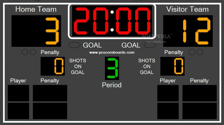 Square Hockey score board showing it's the third period and the score is 3 for the home team and 12 for the visitor team.